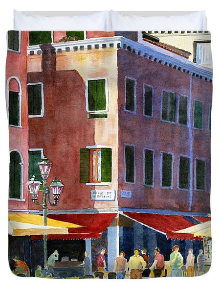 Duvet Cover featuring the painting Venetian Piazza by Roger Rockefeller
