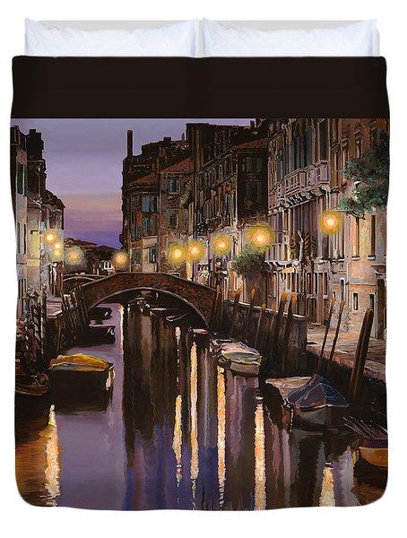Venezia Al Crepuscolo Duvet Cover by Guido Borelli