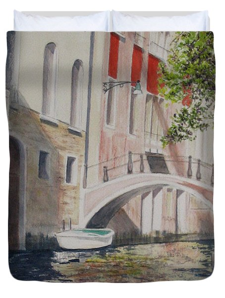 Duvet Cover featuring the painting Venice 2000 by Carol Flagg
