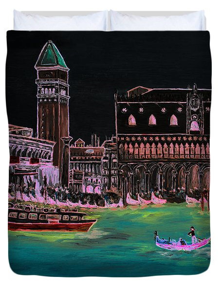 Venice At Night Duvet Cover by Loredana Messina