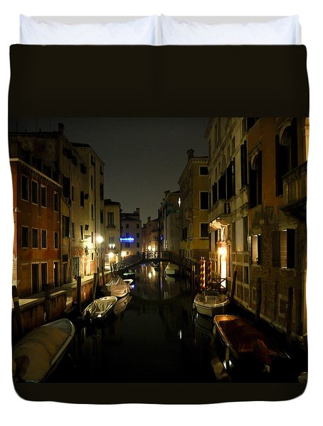 Duvet Cover featuring the photograph Venice At Night by Silvia Bruno