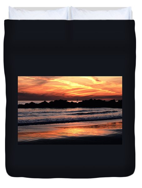 Duvet Cover featuring the photograph Venice Beach Breaker Orange Yellow Sunset by Tom Wurl