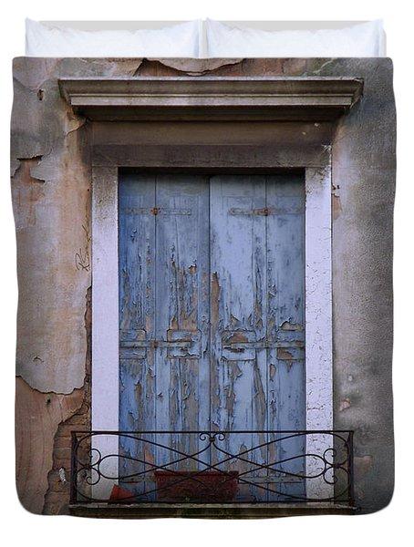 Venice Blue Shutters Horizontal Photo Duvet Cover