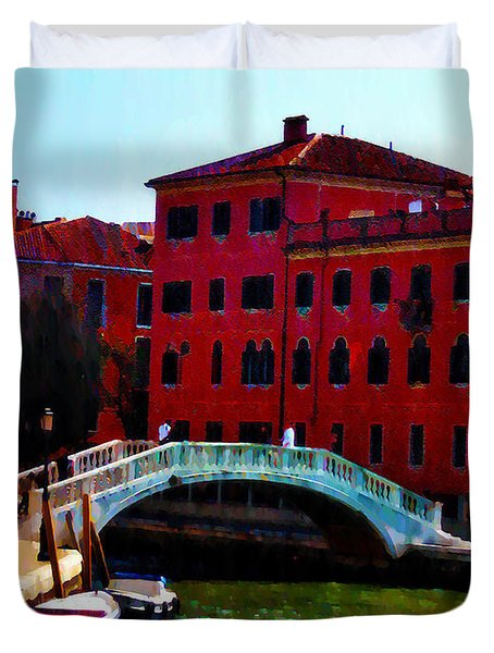 Venice Bow Bridge Duvet Cover by Bill Cannon