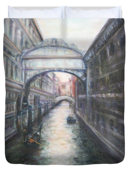 Venice Bridge Of Sighs - Original Oil Painting Duvet Cover