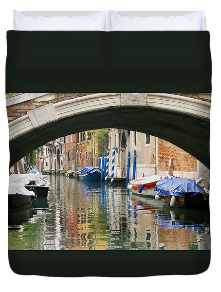 Duvet Cover featuring the photograph Venice Canal Boat by Silvia Bruno