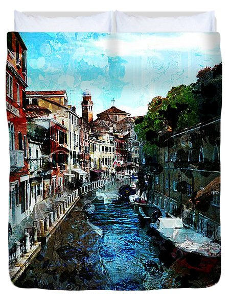 Venice Canal Duvet Cover by Claire Bull