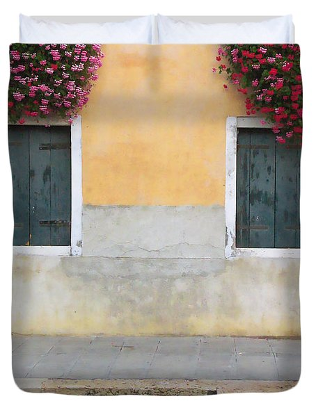 Venice Canal Shutters With Window Flowers Duvet Cover