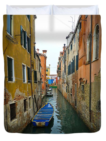 Duvet Cover featuring the photograph Venice Canal by Silvia Bruno