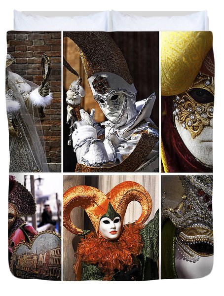 Duvet Cover featuring the photograph Venice Carnival Models Collage by John Rizzuto