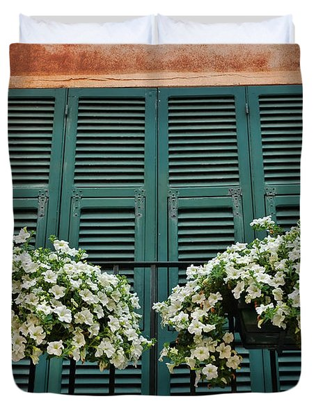 Duvet Cover featuring the photograph Venice Flower Balcony 2 by Allen Beatty