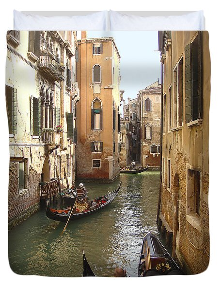 Duvet Cover featuring the photograph Venice Gondolas by Karen Zuk Rosenblatt