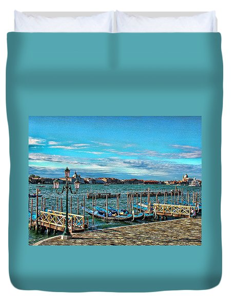 Duvet Cover featuring the photograph Venice Gondolas On The Grand Canal by Kathy Churchman