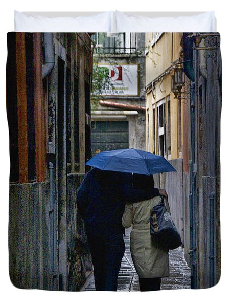 Venice In The Rain Duvet Cover