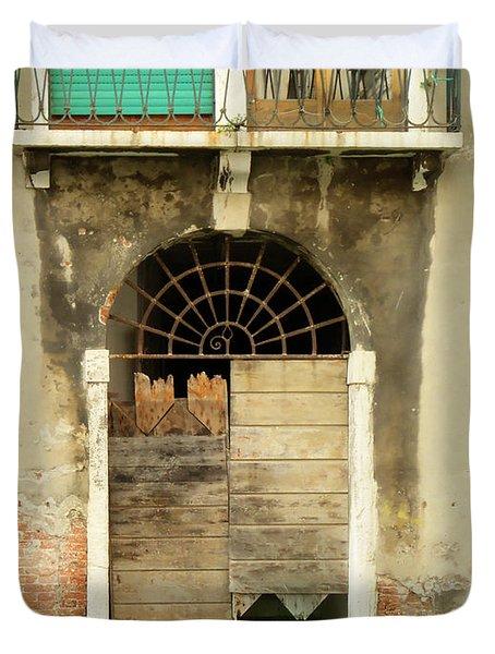 Venice Italy Boat Room Shutters Duvet Cover