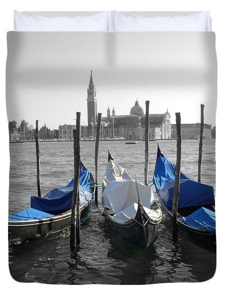 Venice Italy Boats In Black And Blue Duvet Cover