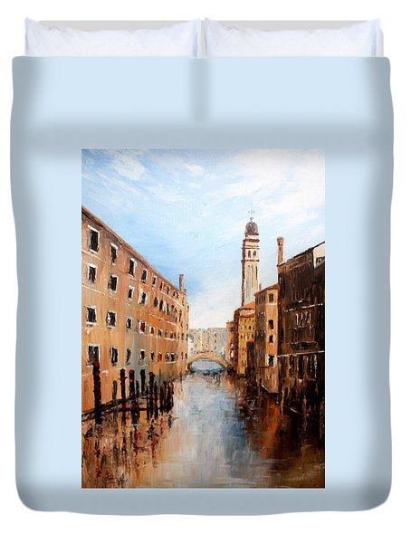 Duvet Cover featuring the painting Venice Italy by Jean Walker