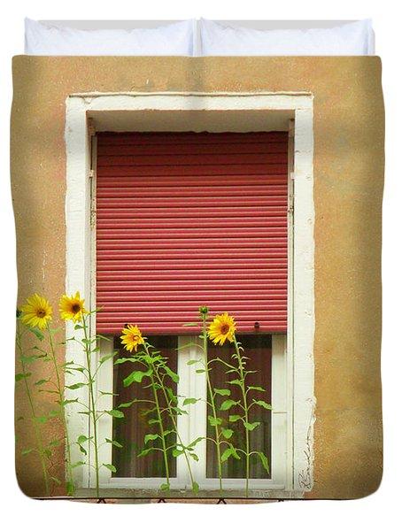 Venice Italy Yellow Flowers Red Shutter Duvet Cover