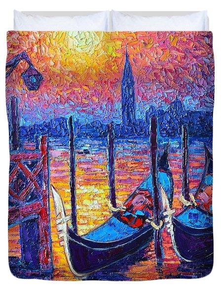 Venice Mysterious Light - Gondolas And San Giorgio Maggiore Seen From Plaza San Marco Duvet Cover by Ana Maria Edulescu