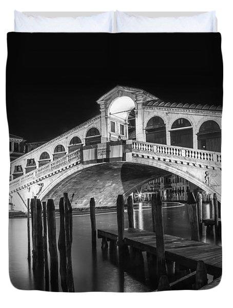 Venice Rialto Bridge At Night Black And White Duvet Cover