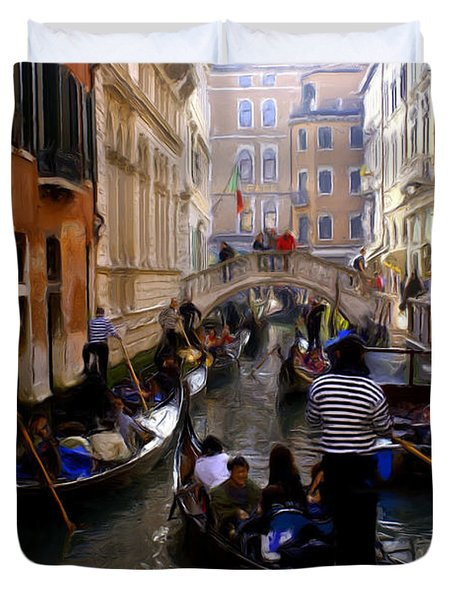 Duvet Cover featuring the digital art Venice by Ron Harpham