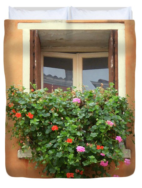 Venice Shutters Flowers Orange Wall Duvet Cover