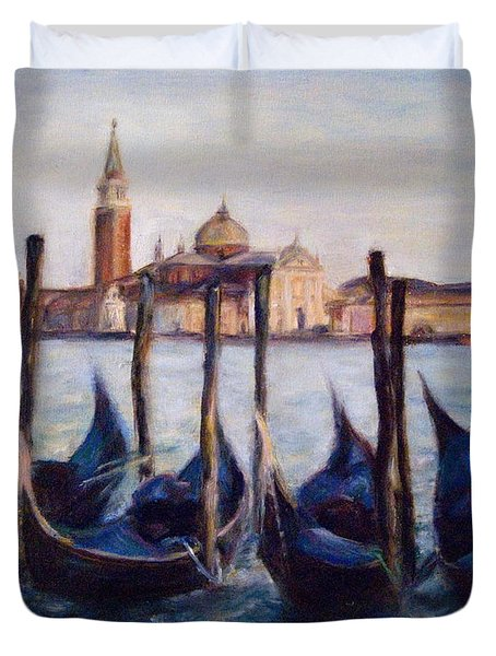 Venice Through The Gondolas Italy Painting Duvet Cover by Quin Sweetman