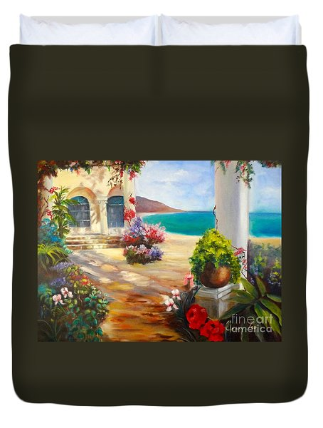 Duvet Cover featuring the painting Venice Villa by Jenny Lee