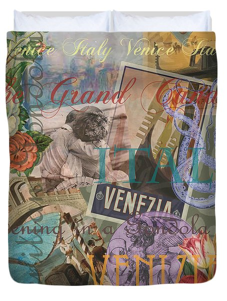 Venice Vintage Trendy Italy Travel Collage  Duvet Cover