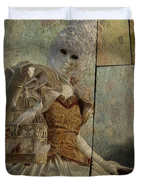 Duvet Cover featuring the photograph Venitian Carnival-bird In A Cage by Barbara Orenya