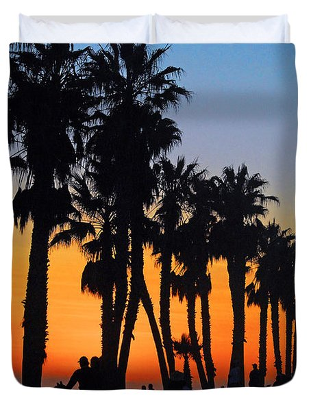 Duvet Cover featuring the photograph Ventura Boardwalk Silhouettes by Lynn Bauer