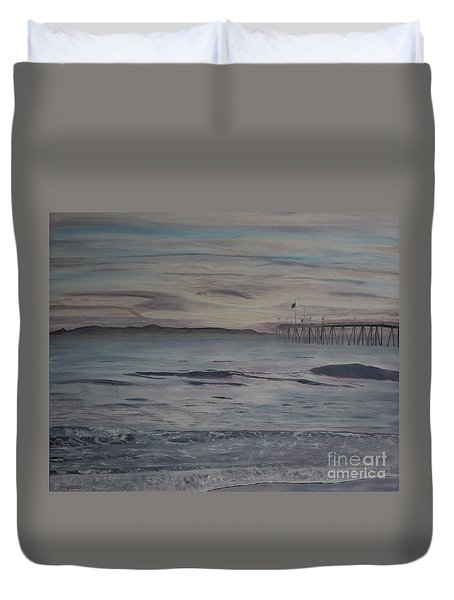 Ventura Pier High Surf Duvet Cover