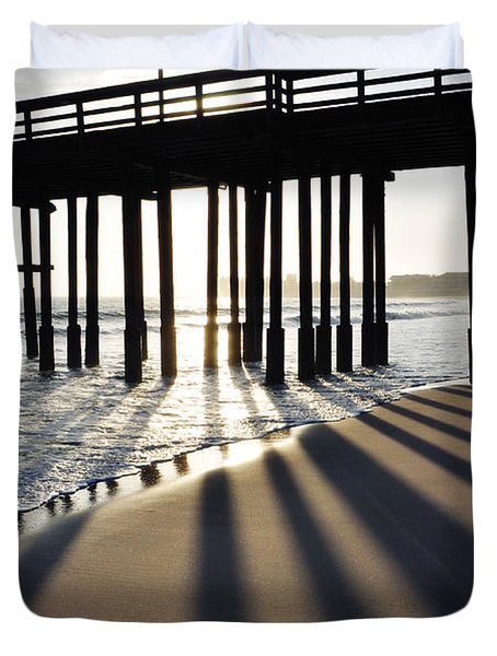 Duvet Cover featuring the photograph Ventura Pier Shadows by Kyle Hanson