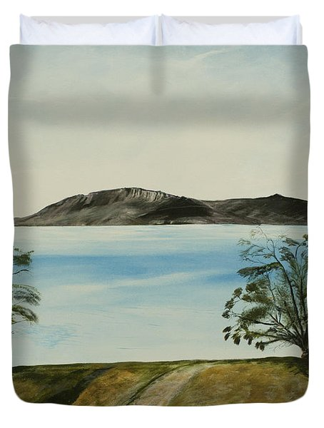 Ventura's Two Trees With Santa Cruz  Duvet Cover
