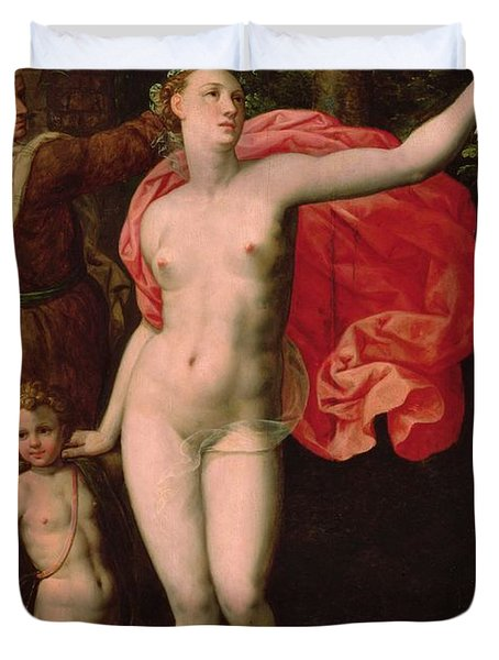 Venus And Cupid, Allegory Of The Truth Oil On Wood Duvet Cover