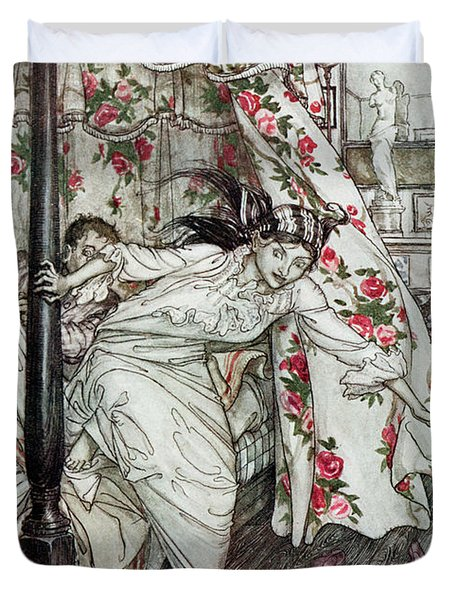 Venus And The Cat, Illustration From Aesops Fables, Published By Heinemann, 1912 Colour Litho Duvet Cover