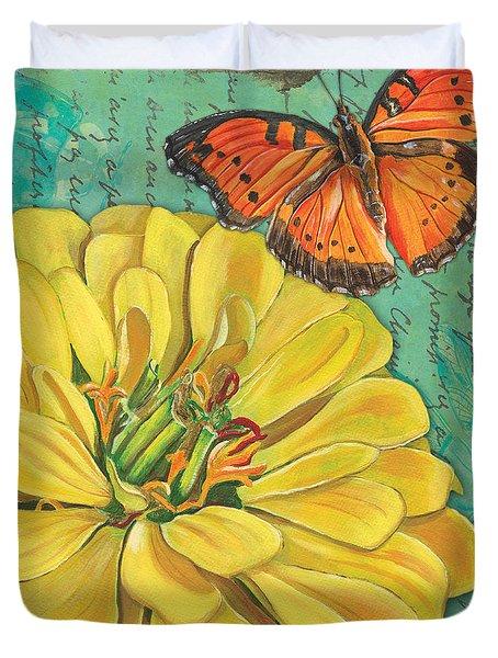 Verdigris Floral 2 Duvet Cover by Debbie DeWitt