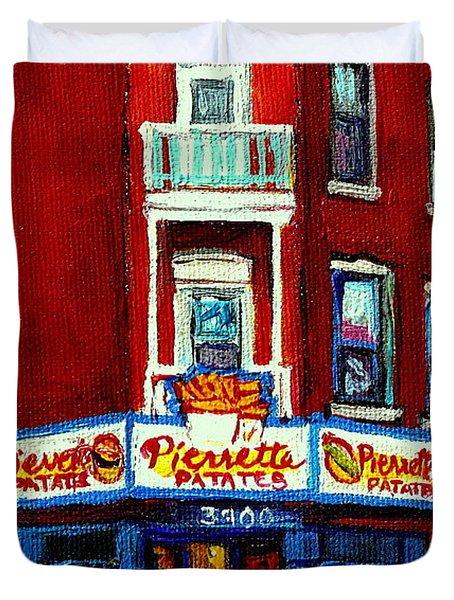 Verdun Landmarks Pierrette Patates Resto Cafe  Deli Hot Dog Joint- Historic Marquees -montreal Scene Duvet Cover by Carole Spandau