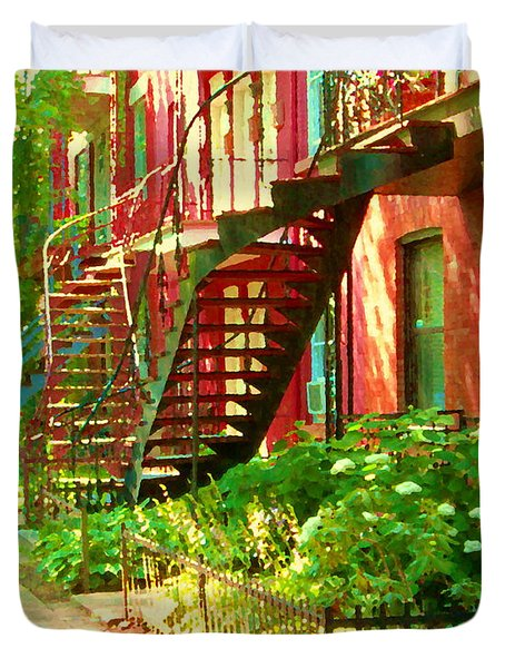 Verdun Stairs Winding Staircases And Fenced Flower Garden Montreal Summer Scene Carole Spandau Duvet Cover by Carole Spandau