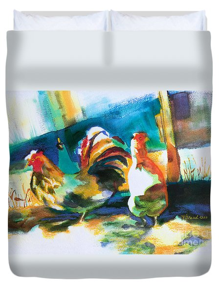 Duvet Cover featuring the painting Veridian Chicken by Kathy Braud