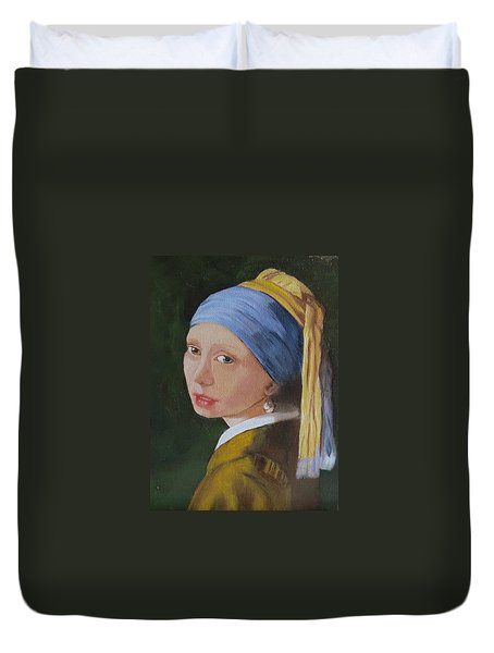 Duvet Cover featuring the painting Vermeer Study by Sharon Schultz