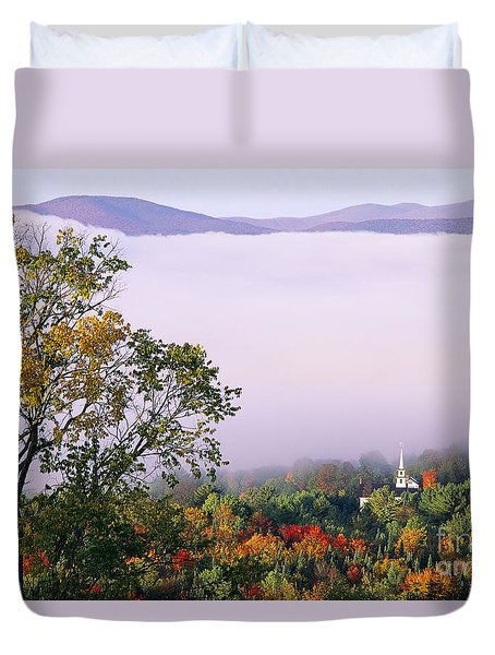 Duvet Cover featuring the photograph Vermont Autumn Morning by Alan L Graham
