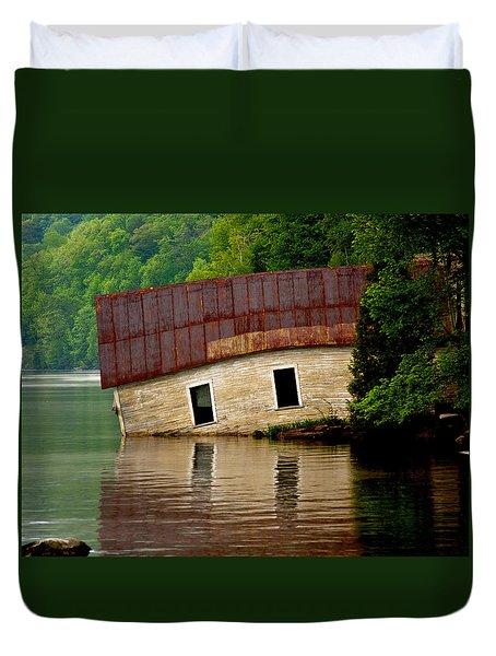 Duvet Cover featuring the photograph Vermont Boathouse by John Haldane