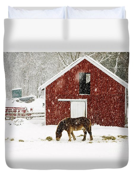 Vermont Christmas Eve Snowstorm Duvet Cover by Edward Fielding