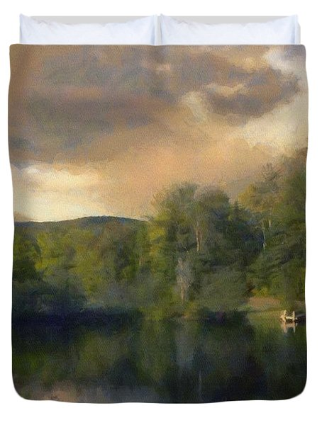 Duvet Cover featuring the painting Vermont Morning Reflection by Jeff Kolker