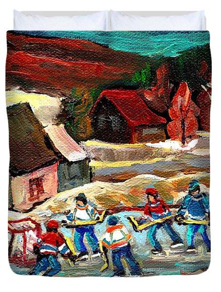 Vermont Pond Hockey Scene Duvet Cover by Carole Spandau