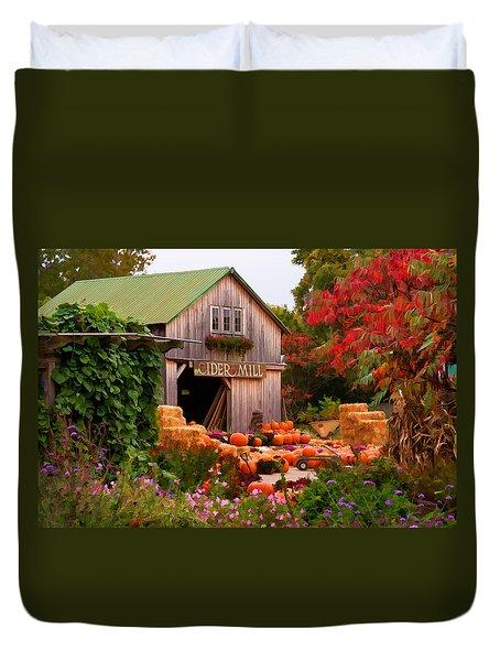 Vermont Pumpkins And Autumn Flowers Duvet Cover