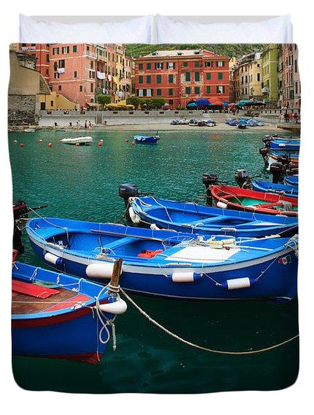 Vernazza Boats Duvet Cover by Inge Johnsson