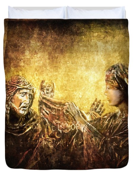 Veronica Wipes His Face Via Dolorosa 6 Duvet Cover by Lianne Schneider