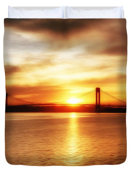 Verrazano Bridge At Sunset Duvet Cover by Boris Mordukhayev